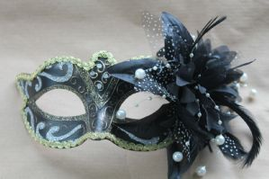 Gold and Black Masquerade Mask - Mask on Stick with Flower | Masks and Tiaras
